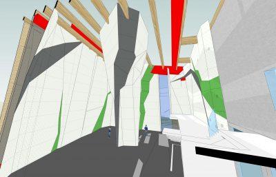 Entwurf Kletterwand innen (Stand 12/2018). Bild: Artrock