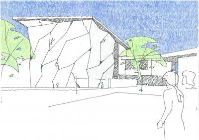 Außenansicht Zeichnung Südostseite. Bild: Architekten Rößner + Waldmann
