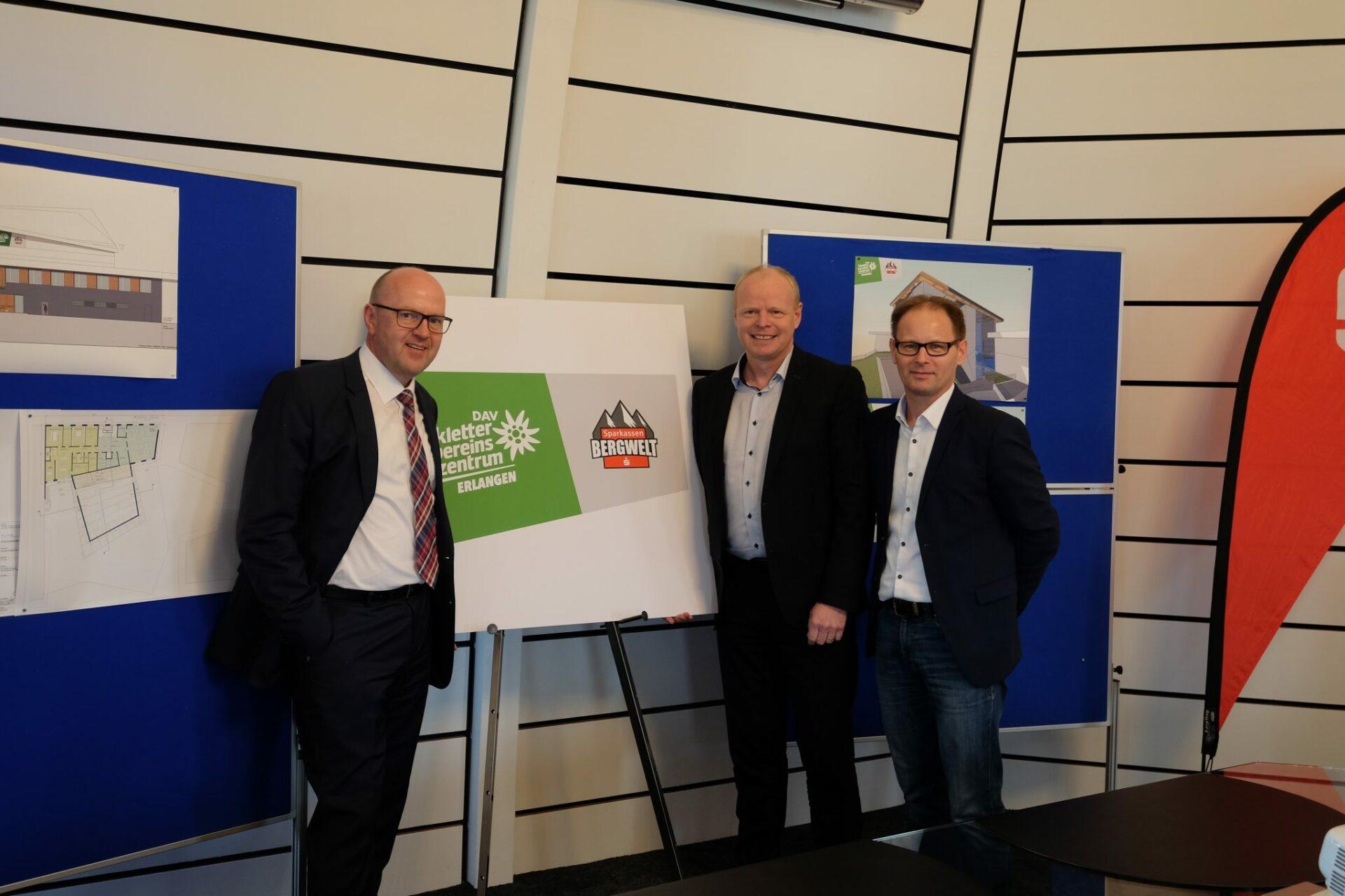 Johannes von Hebel (SPK), Kai Lenfert (DAV) und Ulrich Klement (Sportamt) begrüßen die Zusammenarbeit und und präsentieren das neue Logo.