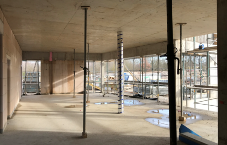 Der künftige Eingangs- und Cafébereich im Erdgeschoss (Foto: A.Knisch).