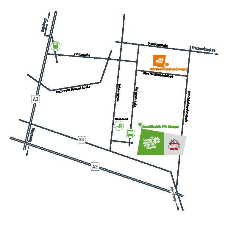 Lageskizze DAV Kletter- und Vereinszentrum